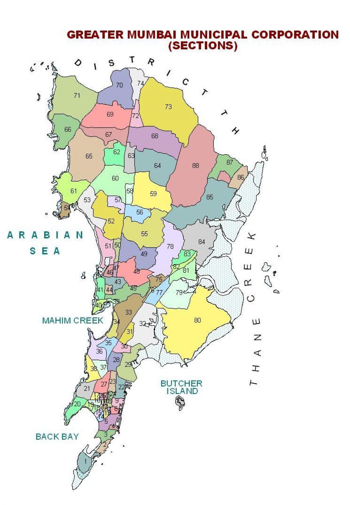politisk kart Mumbai politiske kartet   Politiske kartet av Mumbai (Maharashtra  politisk kart